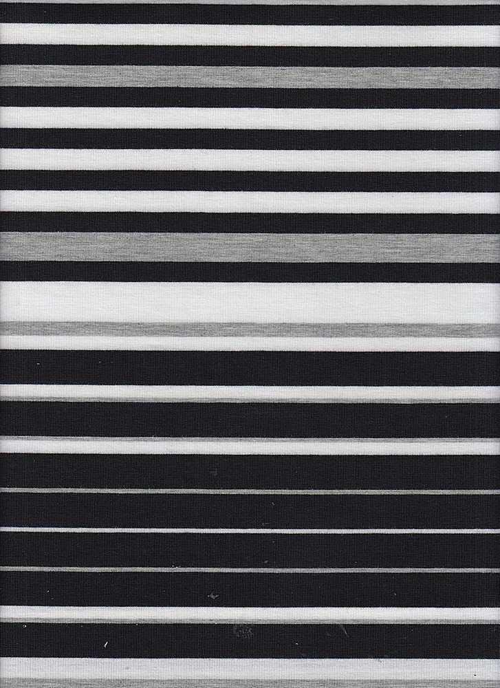 """12125 / BLK/H.GREY/WHT / T/R SPANDEX 90/6/4 19"""" Stripe Repeat"""