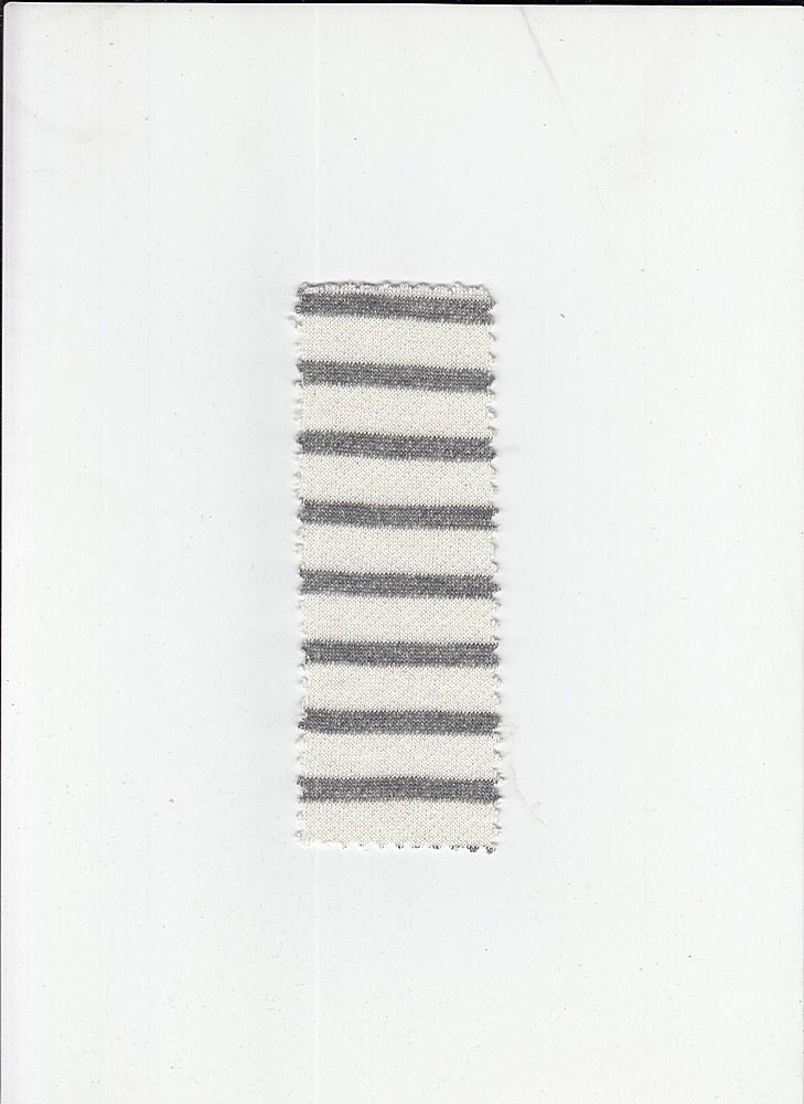 15163 / CHARCOAL HTR / HALF INCH LOOP TERRY STRIPE