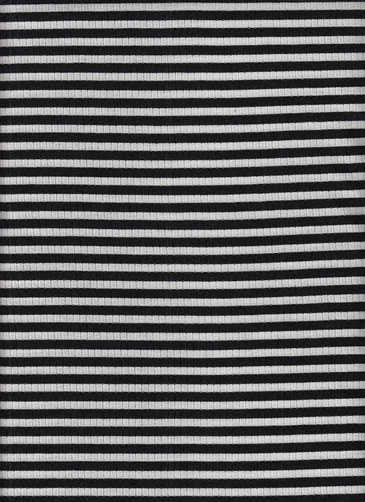 18307 / BLACK/WHITE / 4X2 RIB STRIPE