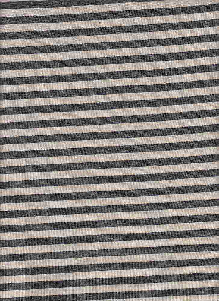 "18312 / CHARC HTR/MELANGE OATMEAL / RAYON JERSEY SPAN COORDINATE STRIPE 1/2"" REPEAT"