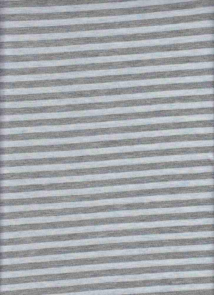 "18312 / HTRGREY/MELANGE SKY / RAYON JERSEY SPAN COORDINATE STRIPE 1/2"" REPEAT"