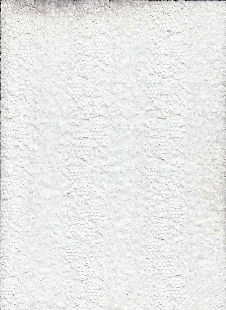 LACE MOJ / WHITE / 95/5 NYLON SPANDEX STRIPED FLOWER NYLON LACE