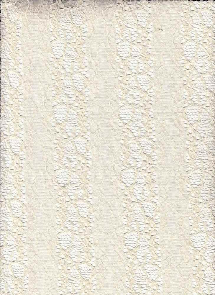 LACE MOJ / NATURAL / STRIPED FLOWER NYLON LACE