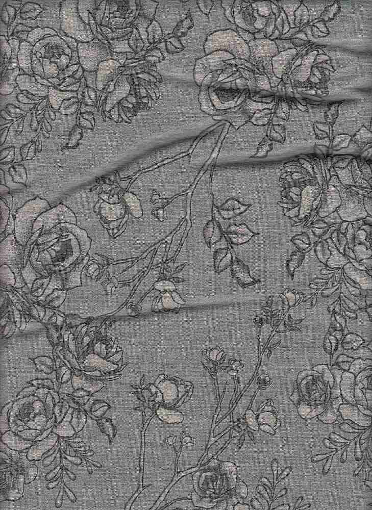 PFLR 10024-A / BLUE / SMOKEY FLORAL PRINT ON BABY FRENCH TERRY H.G.