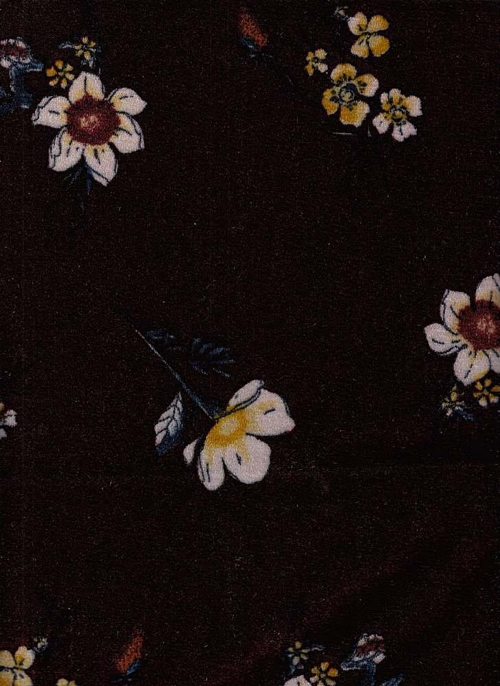 PFLR 10033 / ELDERBERRY / WILD FLOWERS PRINT ON CRUSH VELVET