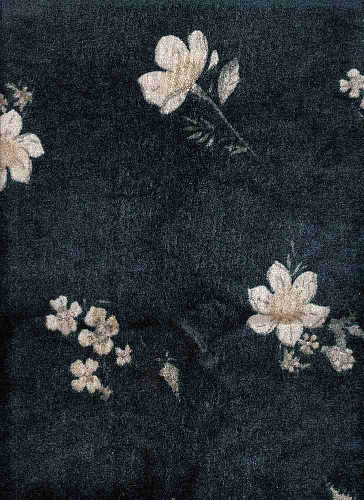 PFLR 10033 / SPRUCE / WILD FLOWERS PRINT ON CRUSH VELVET
