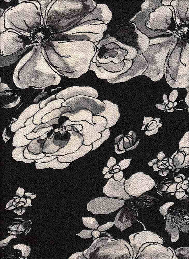 PFLR 10036 / BLACK / WATERCOLOR FLORAL PRINT ON ANTS KNIT