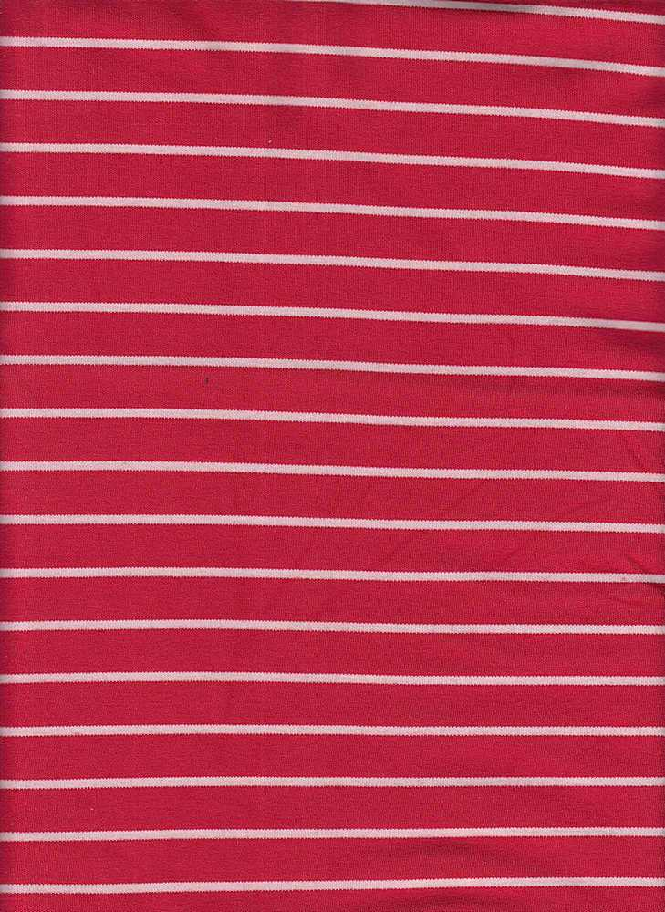 19501 / RED/NATURAL / RAYON POLY STRIPE