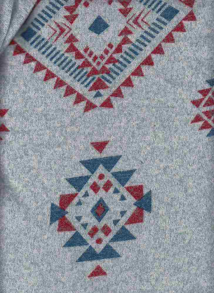 PGEO 10040 / BLUE GRASS/RED / NAVAJO PRINT ON MARLED SWEATER