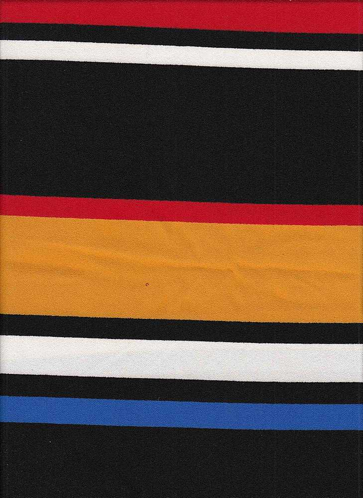 PSTR 10041 / BLACK/RED/YELLOW / AUTOMATIC STRIPE PRINT ON TECHNO CREPE
