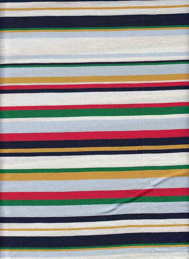 19509 / PALE BLUE/NAVY / JERSEY SPANDEX SLUB MULTI STRIPE