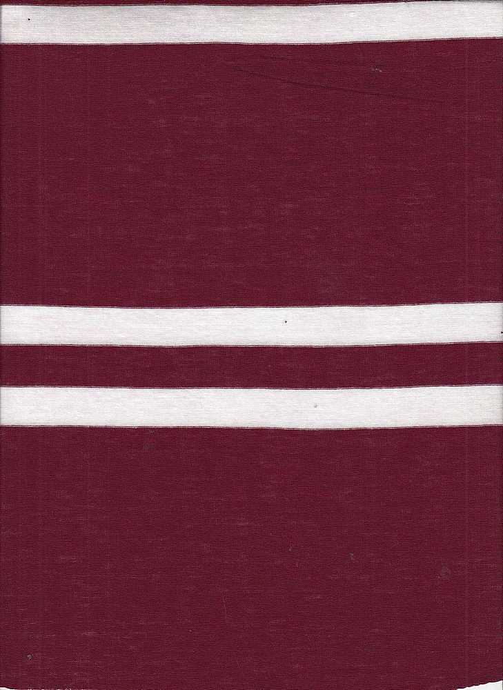 13059 / CRANBERRY/IVORY / RAYON OE POLY BIG RUGBY YARN DYE STRIPE