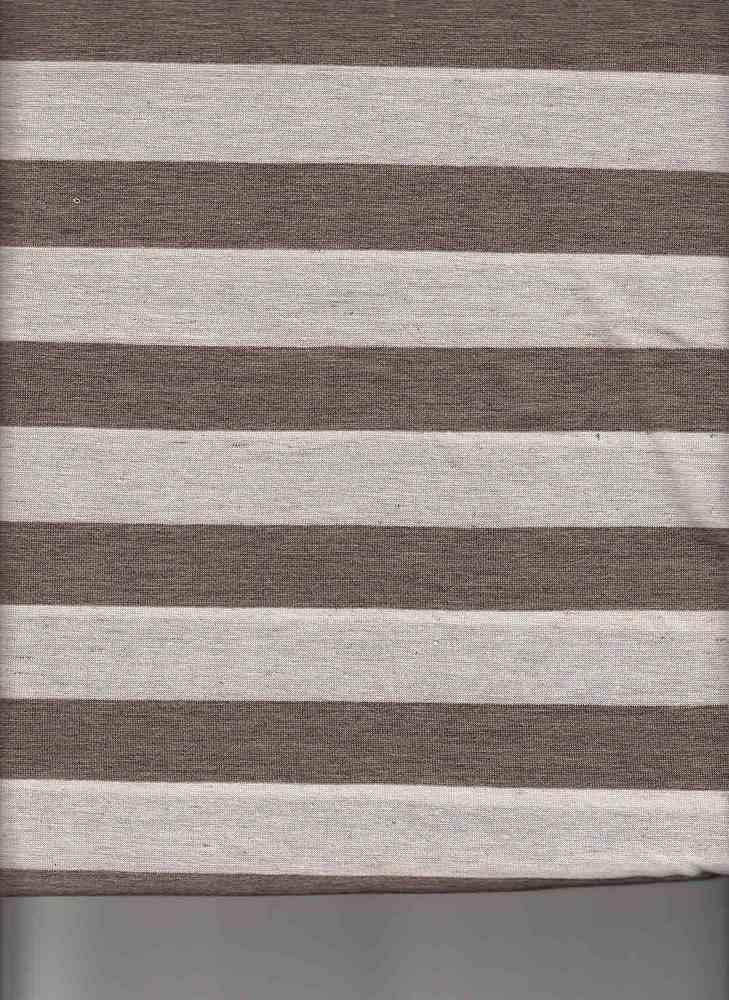 """9193 / LINEN BROWN / 78/15/7 POLY RAYON LINEN 1""""X1""""STRIPE JERSEY"""