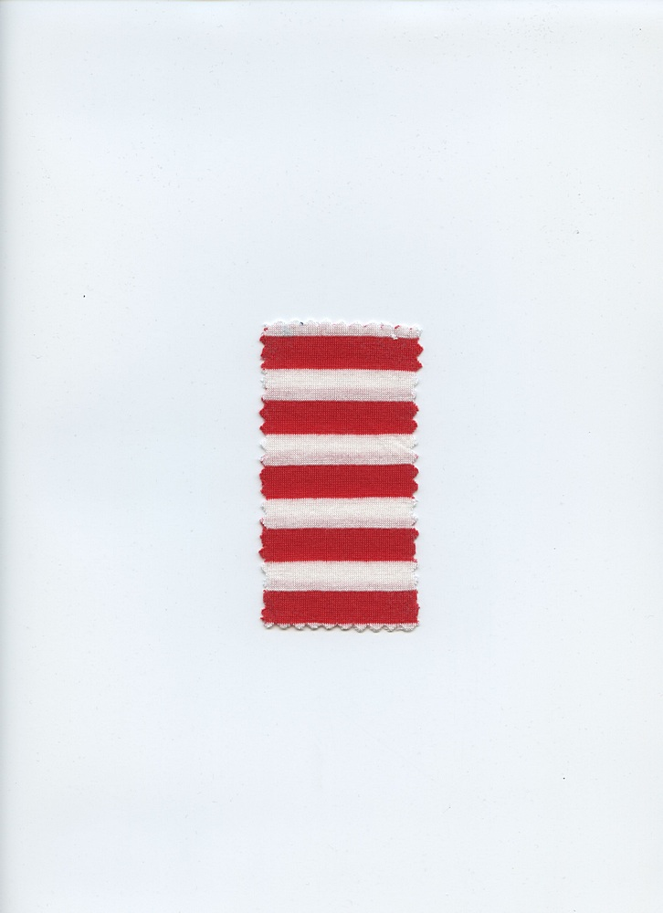 SMALL STRIPE1/2 / FIRERED/WHITE
