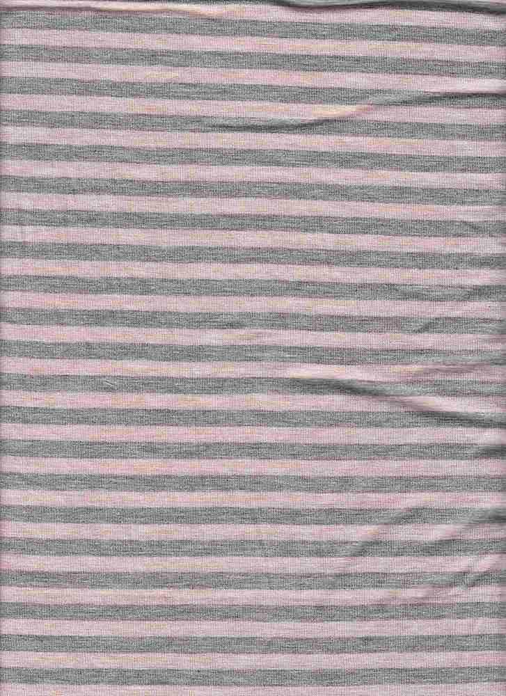 "18312 / HTRGREY/MELANGE ROSE / RAYON JERSEY SPAN COORDINATE STRIPE 1/2"" REPEAT"