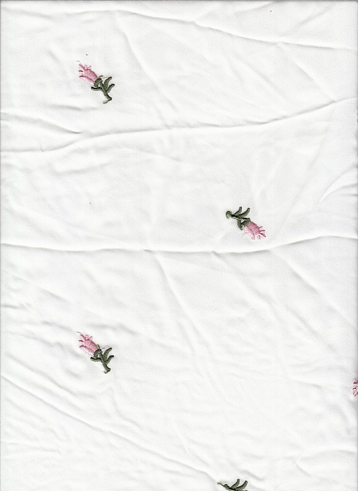 19440 / WHITE GROUND / WHITE GROUND PINK/OLIVE ROSEBUD