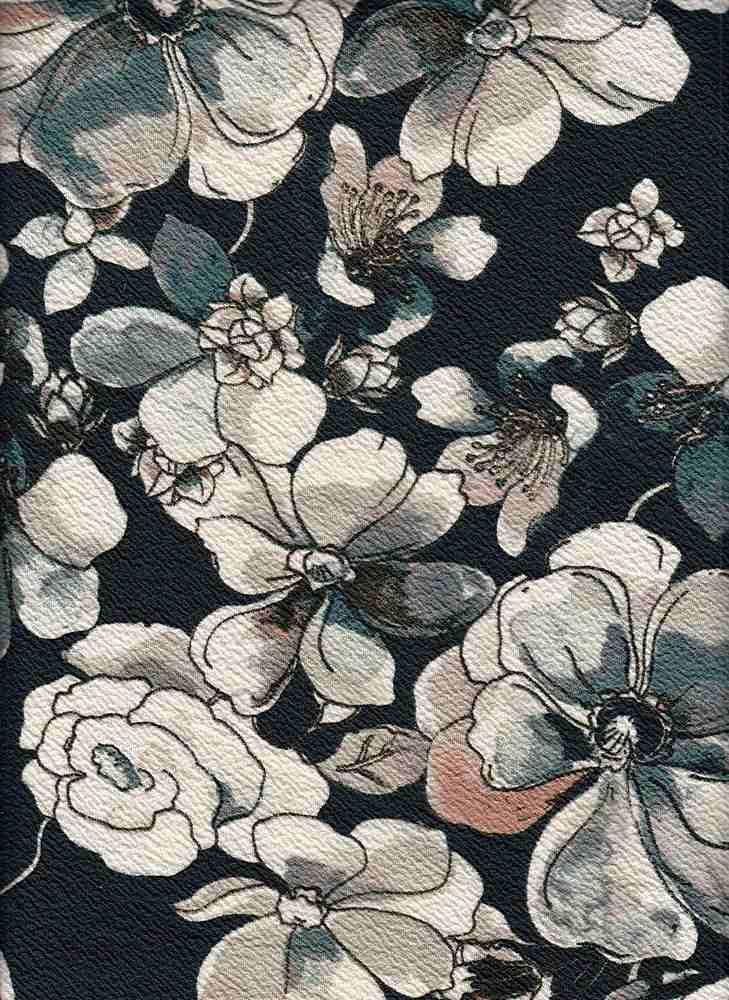 PFLR 10036 / SPRUCE / WATERCOLOR FLORAL PRINT ON ANTS KNIT