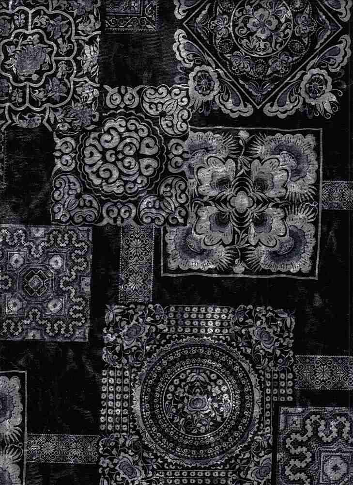 PGEO 10070 / GREY  C#13 / KIMONO VELVET PAPER PRINT  D#30 H368 TURKISH TILE