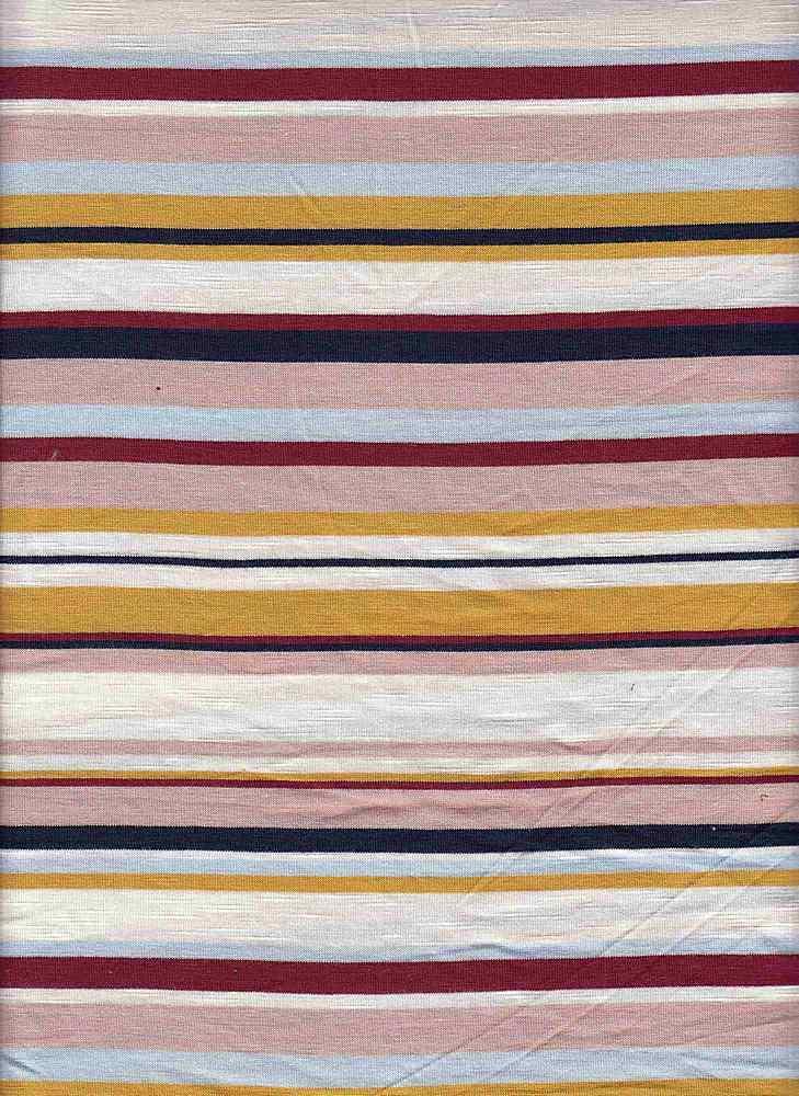 19509 / MUSTARD/PINK / JERSEY SPANDEX SLUB MULTI STRIPE