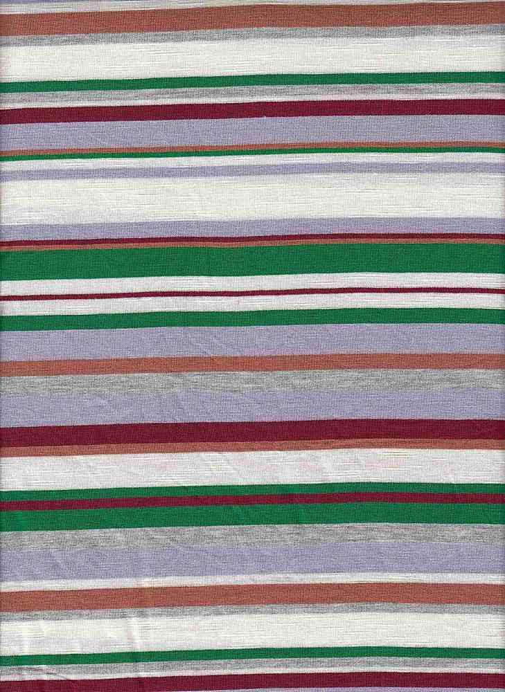 19509 / LILAC/GREEN / JERSEY SPANDEX SLUB MULTI STRIPE