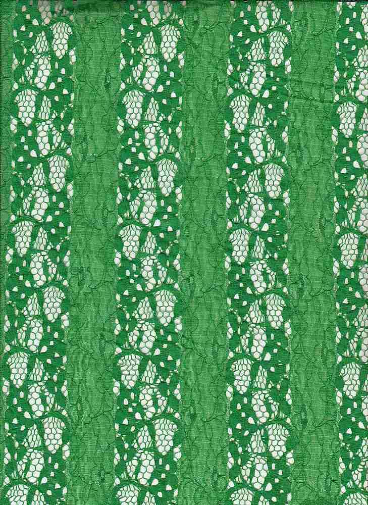 LACE MOJ / KELLY GREEN / 95/5 NYLON SPANDEX STRIPED FLOWER NYLON LACE