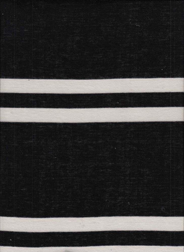 13059 / BLACK/IVORY / RAYON OE POLY BIG RUGBY YARN DYE STRIPE