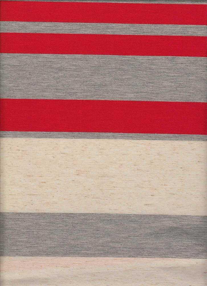 13124 / HGREY OAT CORAL / POLY LINEN SPANDEX VARIGATED JERSEY WIDE STRIPE