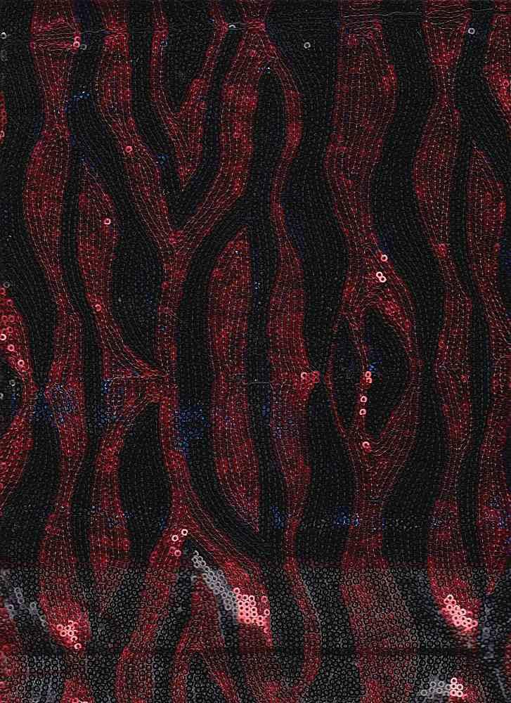 14091 / BLACK RED / POLY PIQUE GOLD SLICE SEQUINS