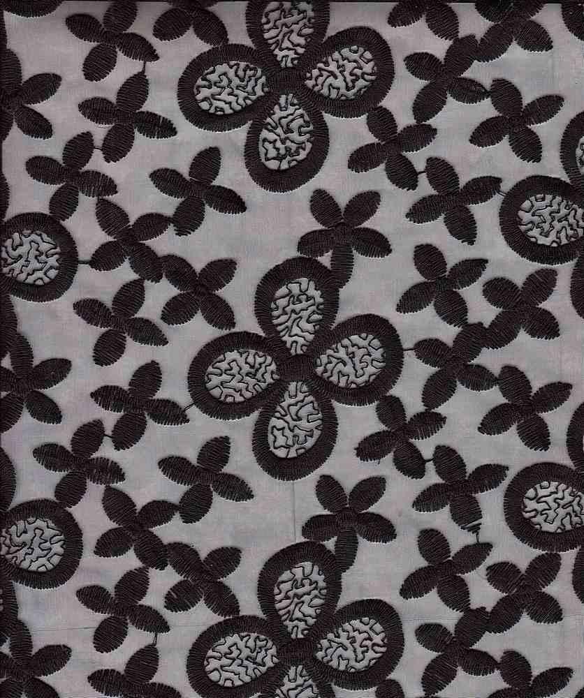 14094 / BLACK / EMBROIDERED ORGANZA FLOWER