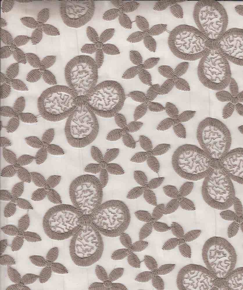 14094 / MOCHA / POLY EMBROIDERED LARGE & SMALL FLOWERS