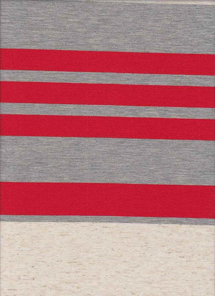 13124 / HGRYOATCORALNEW / POLY LINEN SPANDEX VARIGATED JERSEY WIDE STRIPE