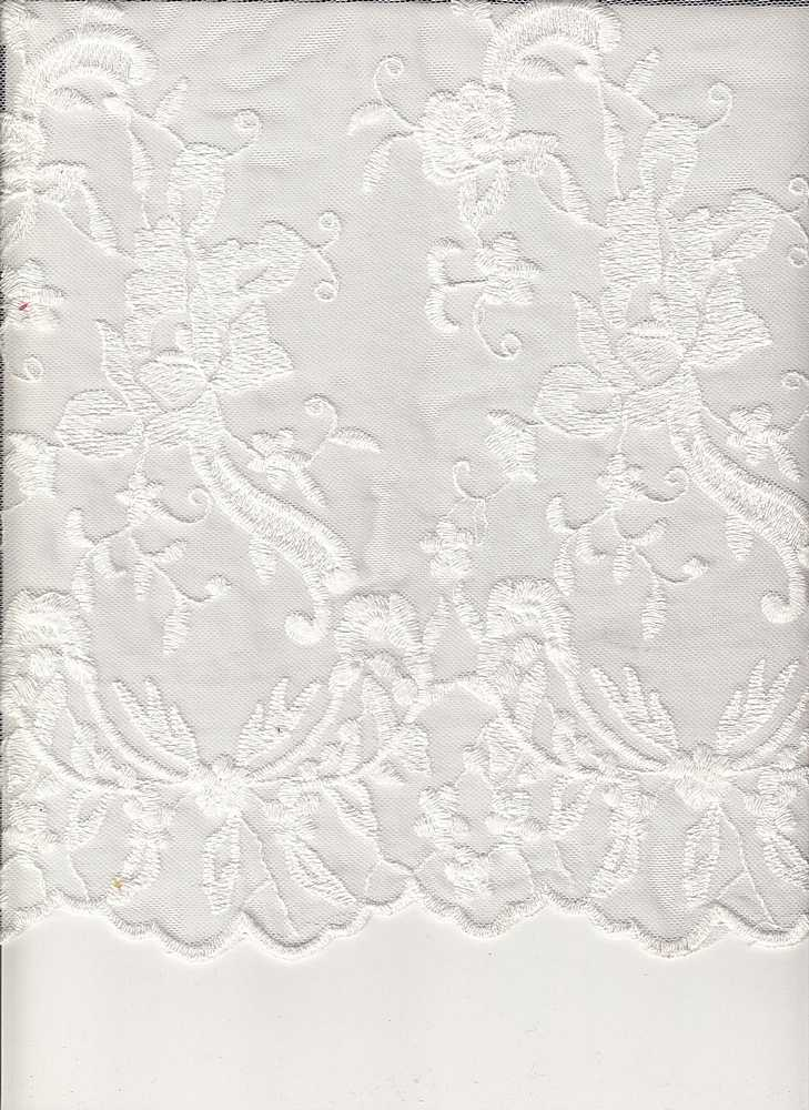 16054 / WHITE / DOUBLE BORDER EMBROIDERY LACE