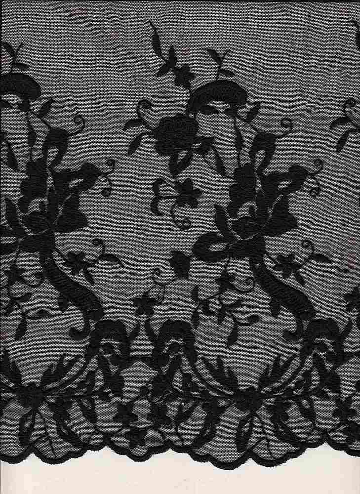 16054 / BLACK / DOUBLE BORDER EMBROIDERY LACE