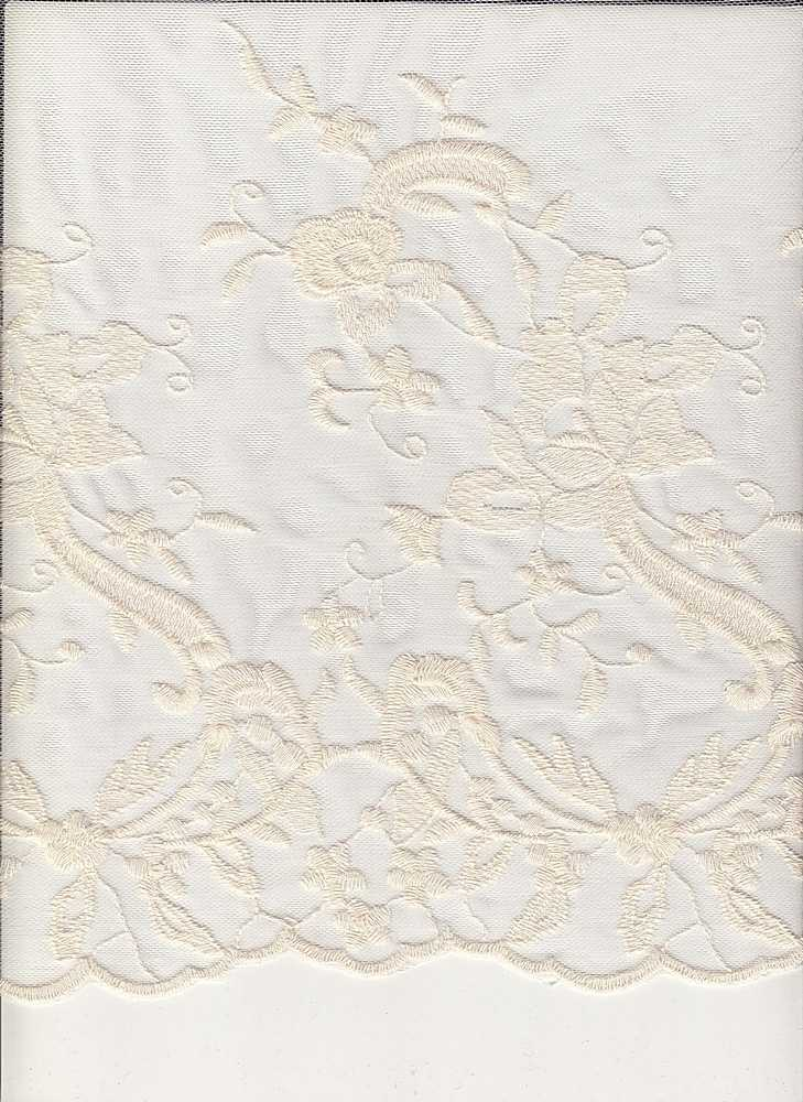 16054 / IVORY / DOUBLE BORDER EMBROIDERY LACE