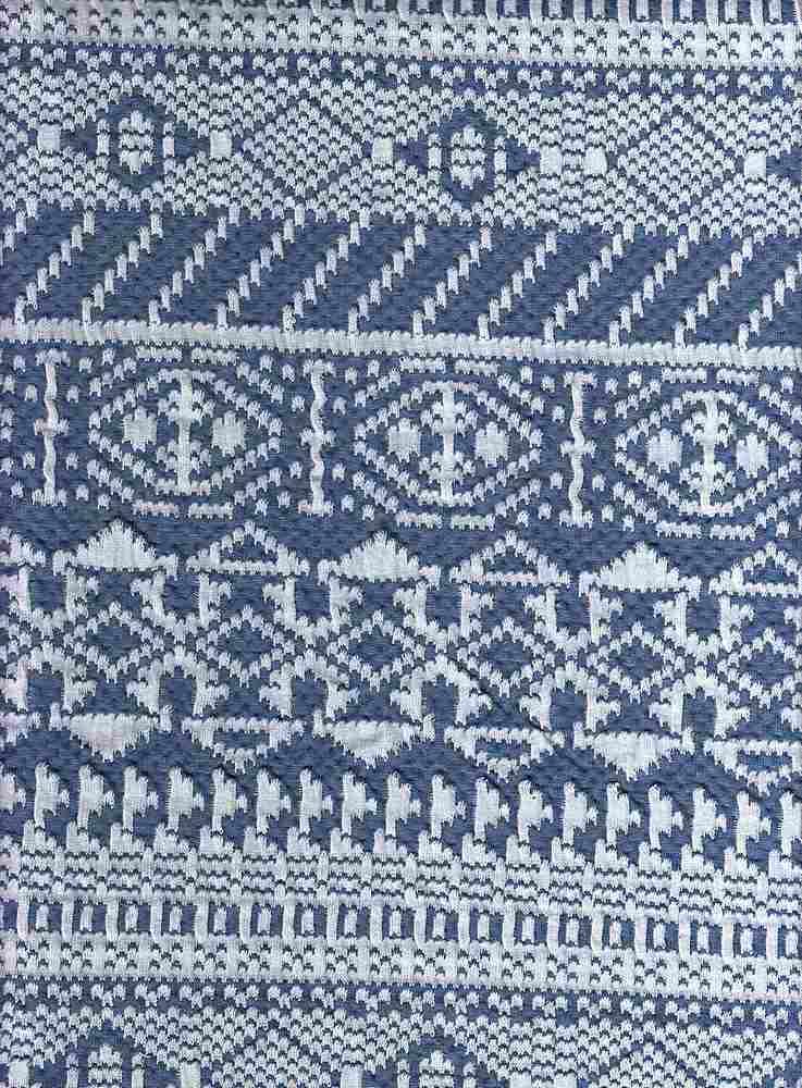17043 / DENIM/WHITE / DOUBLE KNIT AZTEC
