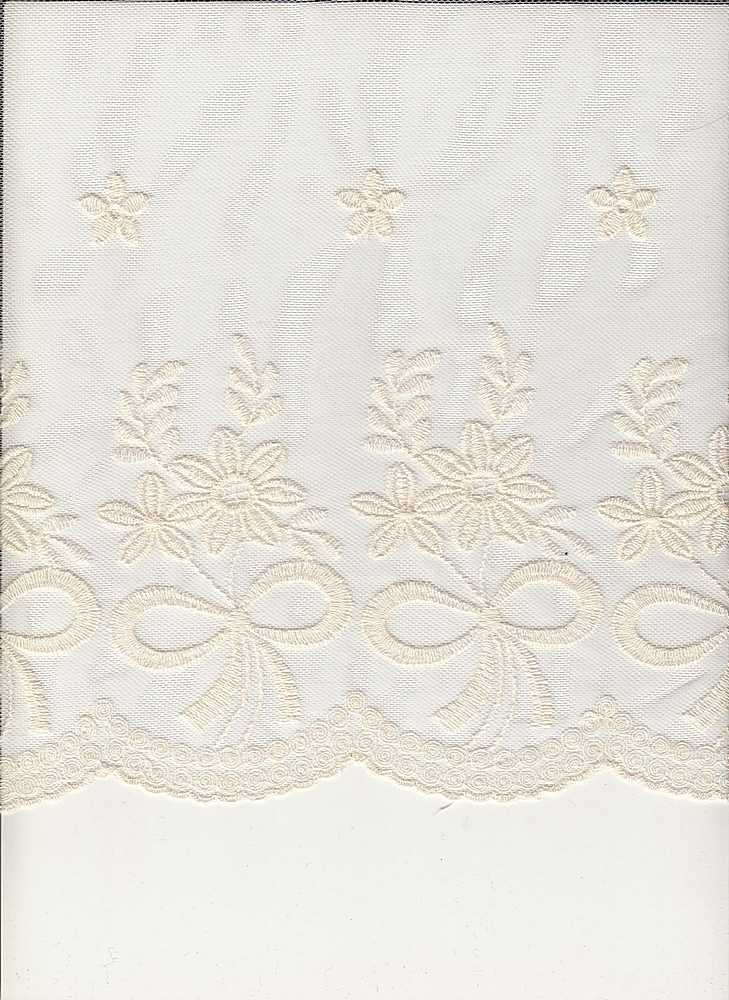 16065 / IVORY / DOUBLE EMBROIDERY RIBBON BOQUET