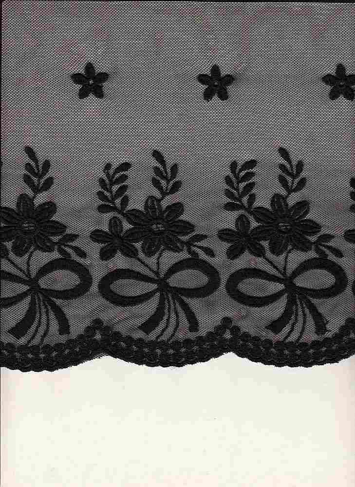 16065 / BLACK / DOUBLE EMBROIDERY RIBBON BOQUET