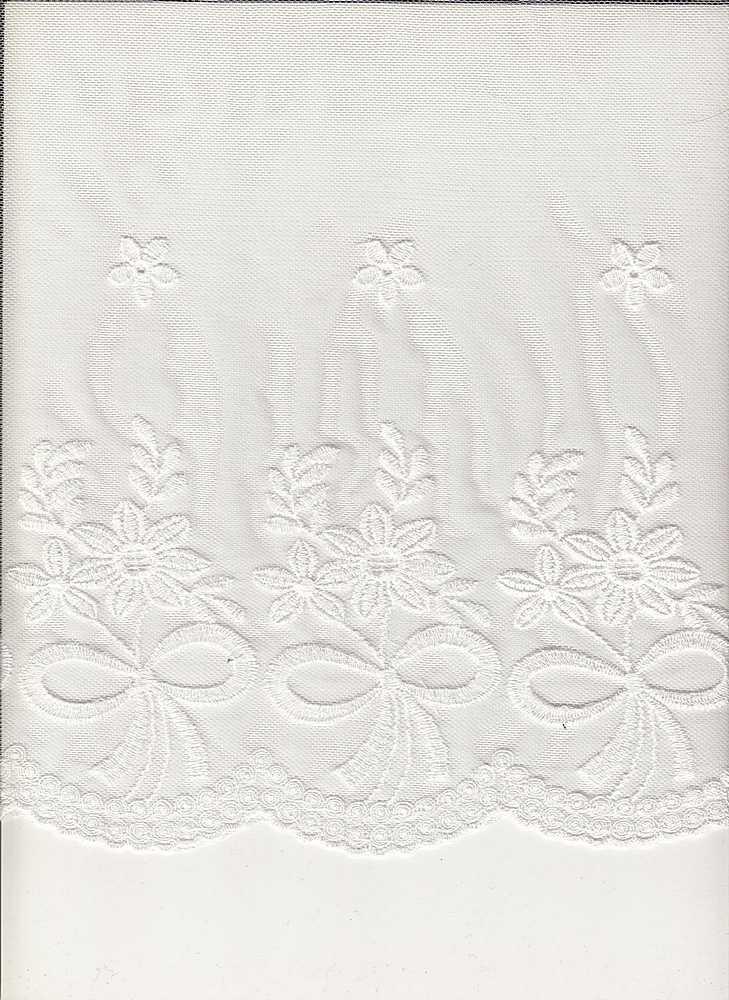 16065 / WHITE / DOUBLE EMBROIDERY RIBBON BOQUET