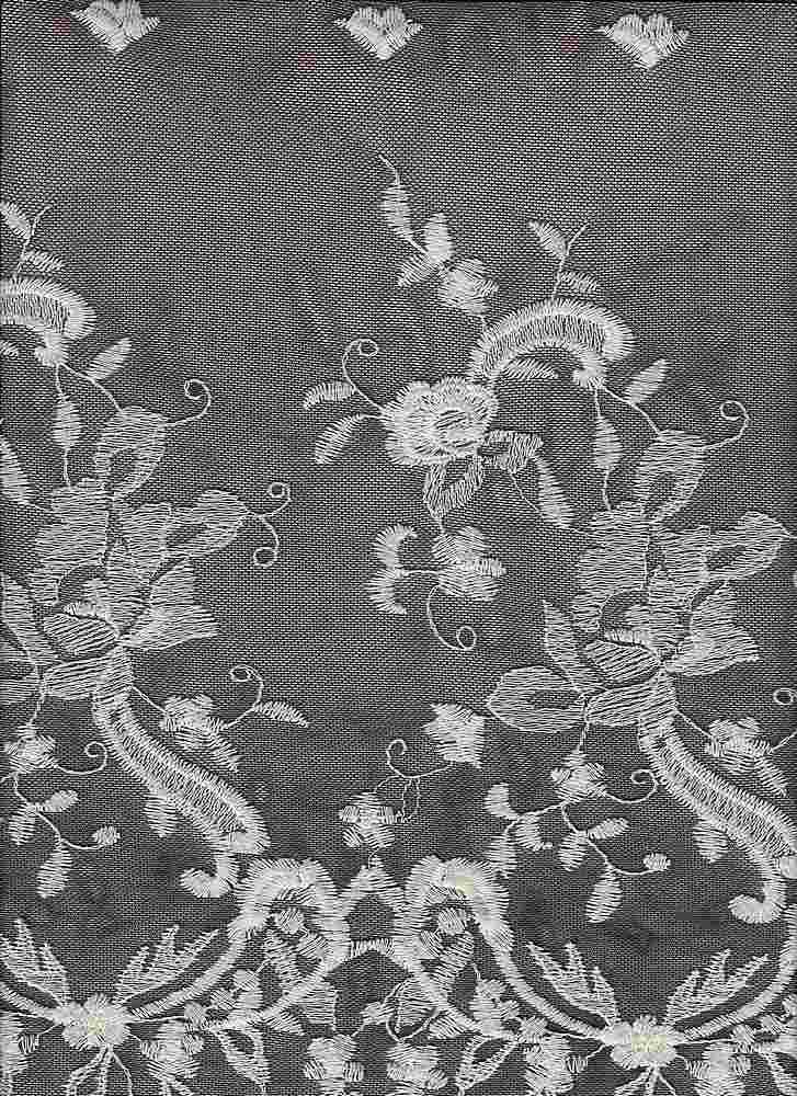 16054 / BLACK/IVORY / DOUBLE BORDER EMBROIDERY LACE