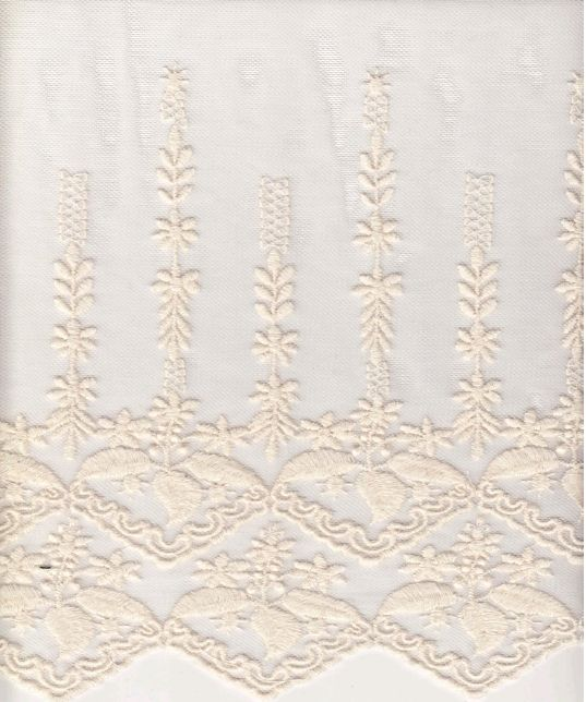 16001 / IVORY / DOUBLE BORDER EMBROIDERY WITH ALL OVER C/N 30/70