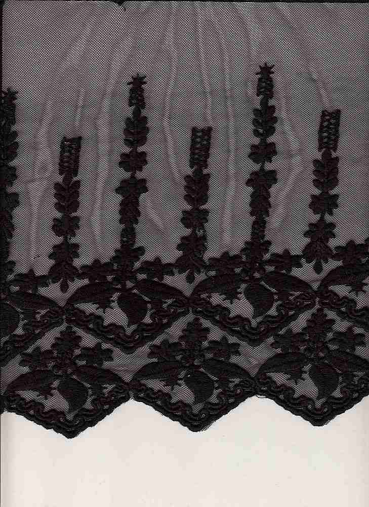 16001 / BLACK / DOUBLE BORDER EMBROIDERY WITH ALL OVER C/N 30/70