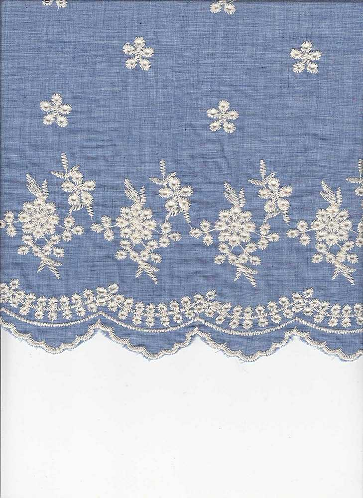 19426 / CHAMBRAY/NATURAL EMBROIDERY / DOUBLE BORDER EMBROIDERY