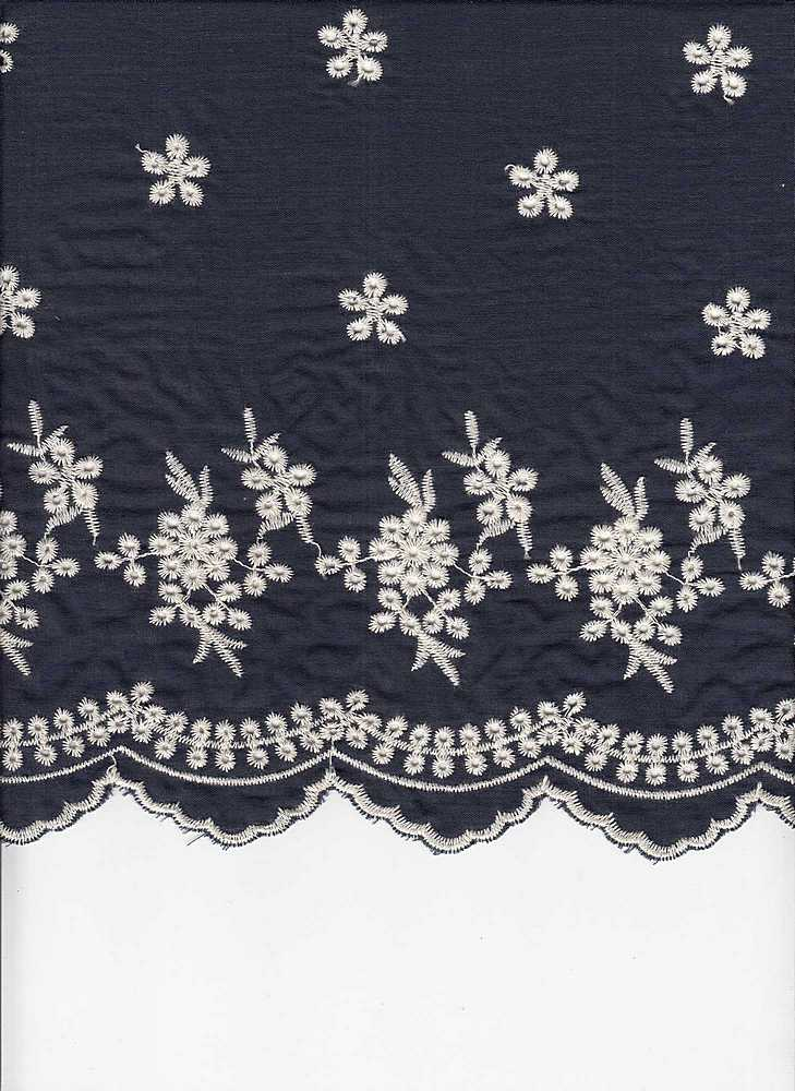 19426 / DK DENIM/NATURAL EMBROIDERY / DOUBLE BORDER EMBROIDERY