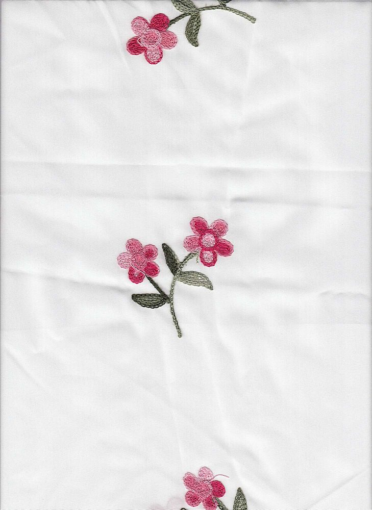 19441 / WHITE GROUND / WHITE GROUND WITH EMBROIDERY PINK/OLIVE FLOWERS