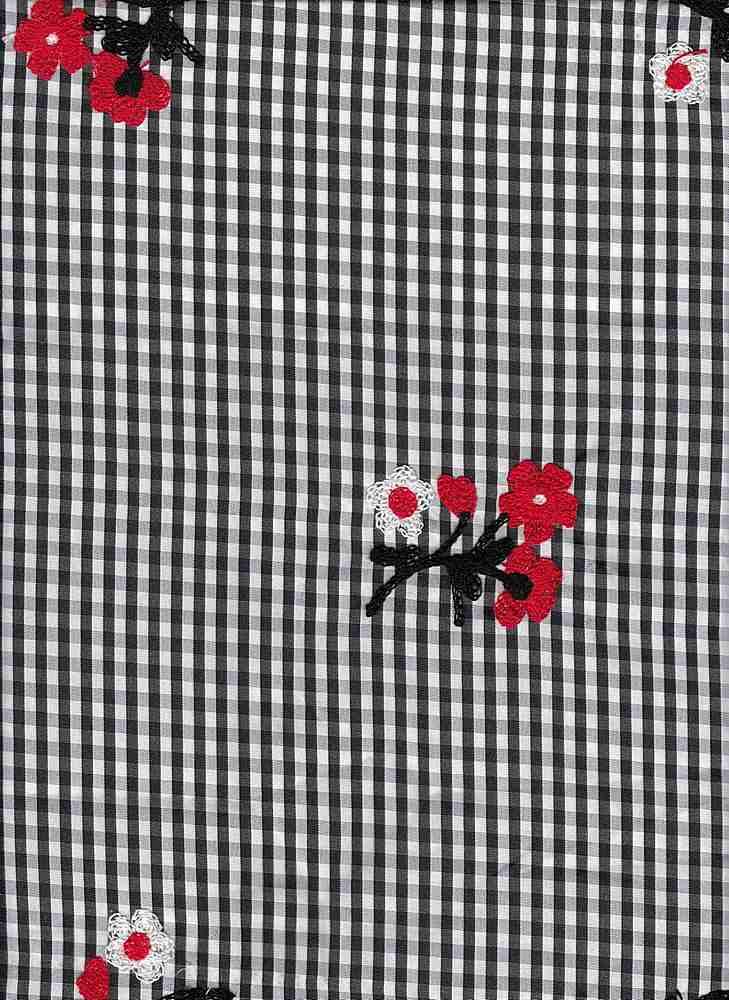 19437 / BLK WHT GINGHAM / Black White Gingham W/ Red Black White Flower