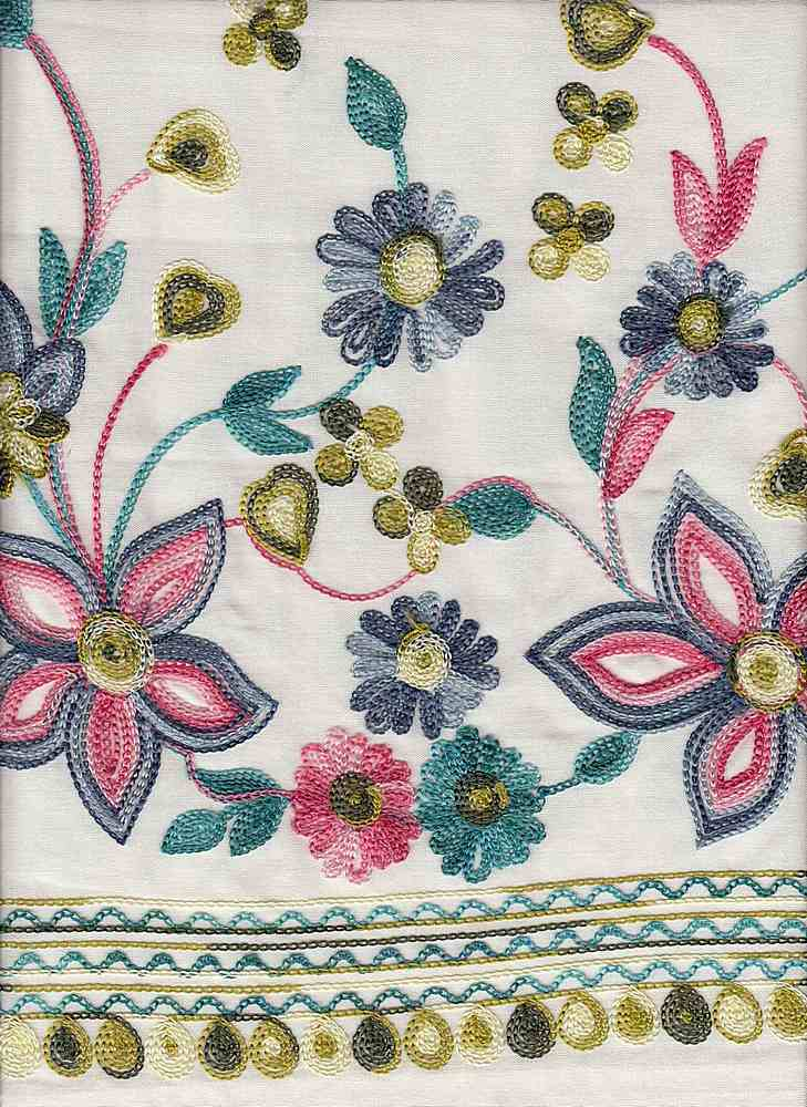19449 / NATURAL / Multi Embroidery DOUBLE Border