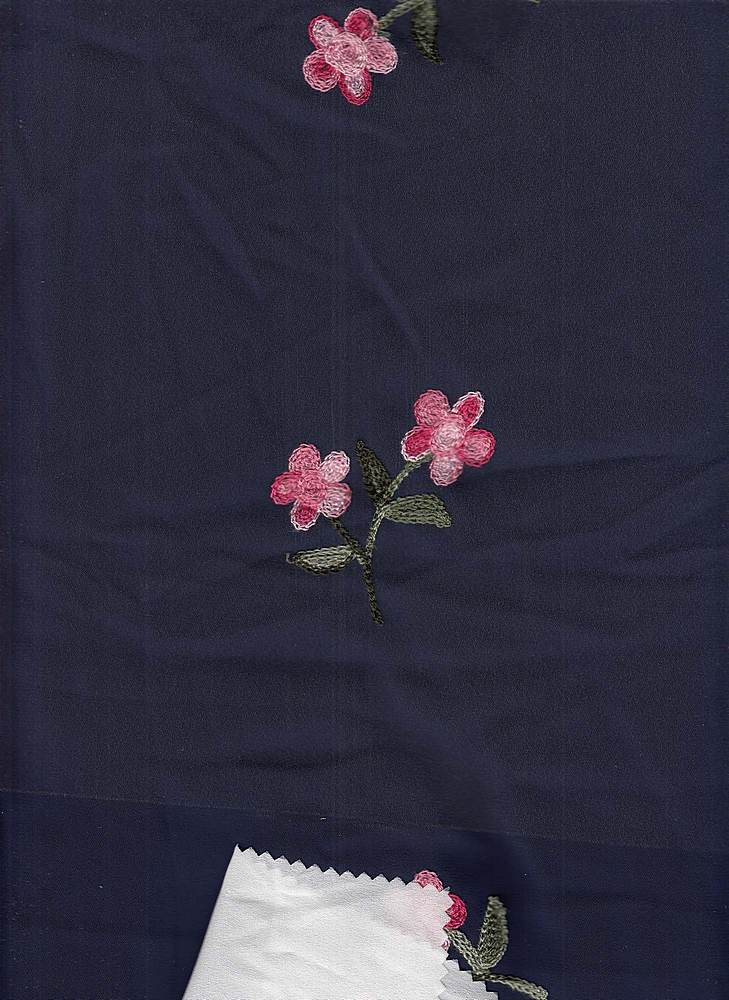 19441 / NAVY GROUND / Navy GROUND WITH EMBROIDERY PINK/OLIVE FLOWERS