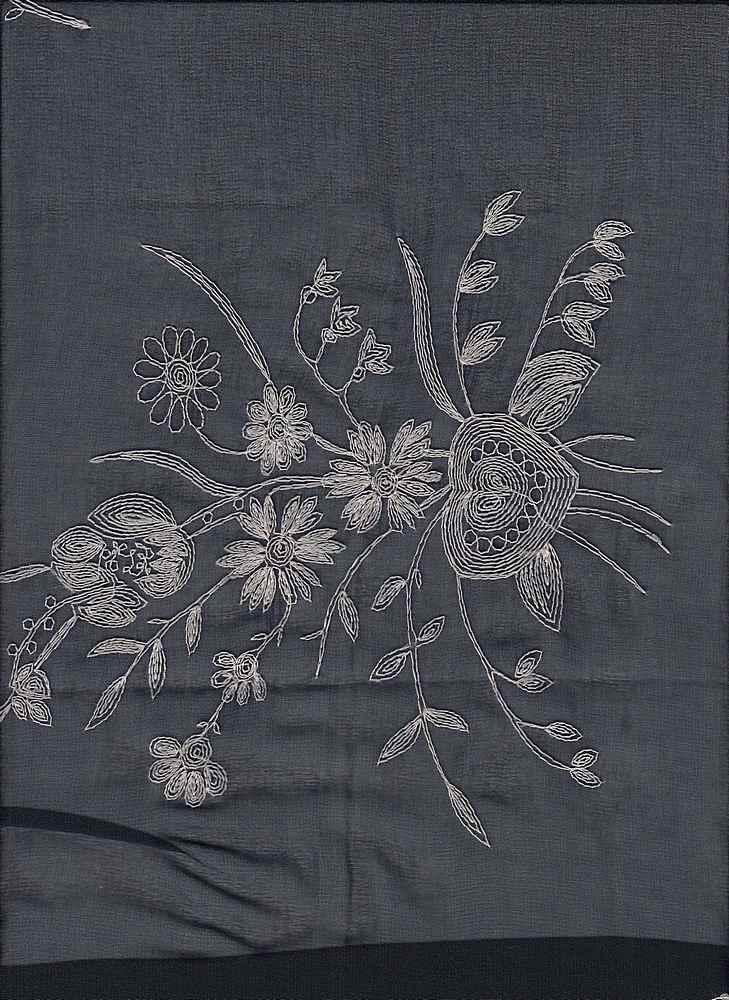 19453 / NAVY / FLOWERS/HEART CHIFFON EMBROIDERY