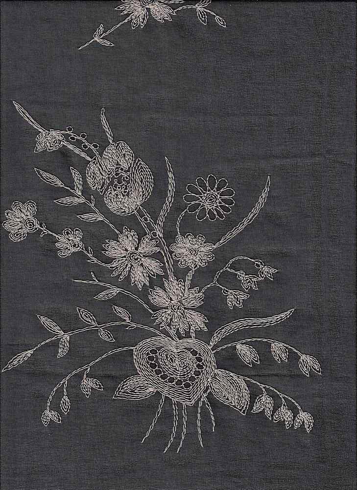 19453 / BLACK / FLOWERS/HEART CHIFFON EMBROIDERY