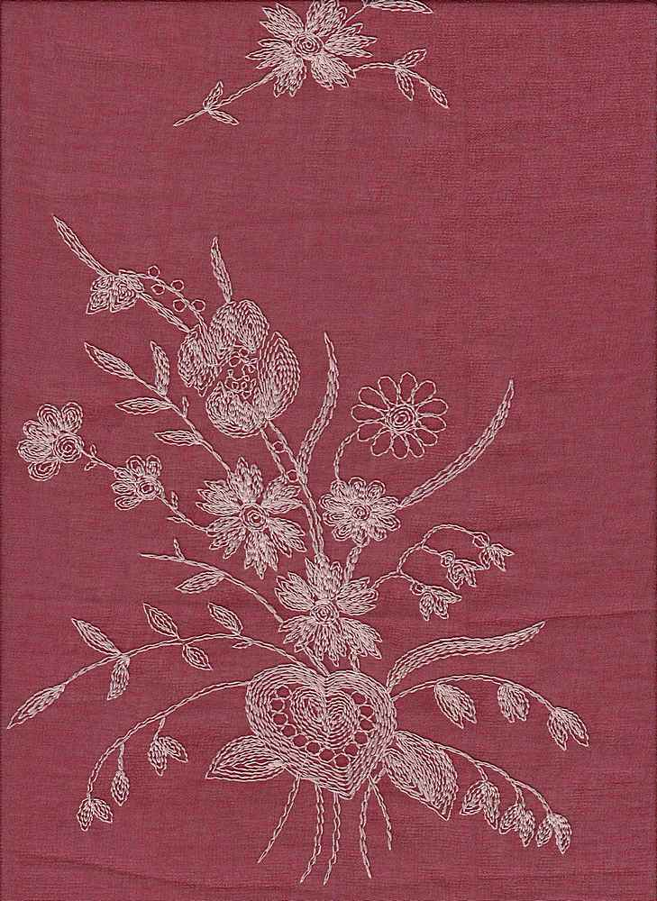 19453 / RED / FLOWERS/HEART CHIFFON EMBROIDERY